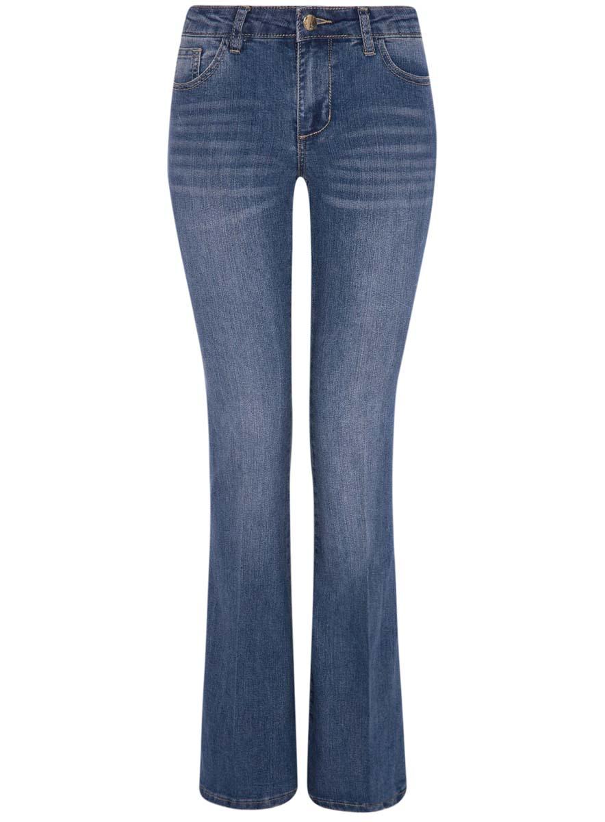 Джинсы женские oodji Ultra, цвет: синий джинс. 12102079/45785/7500W. Размер 27-32 (44-32)12102079/45785/7500WЖенские джинсы oodji Ultra выполнены из высококачественного комбинированного материала. Модель клеш застегивается в поясе на пуговицу и молнию. Джинсы имеют классический пятикарманный крой: спереди модель дополнена двумя втачными карманами и одним маленьким накладным кармашком, а сзади - двумя накладными карманами. Изделие украшено декоративными потертостями и перманентными складками.