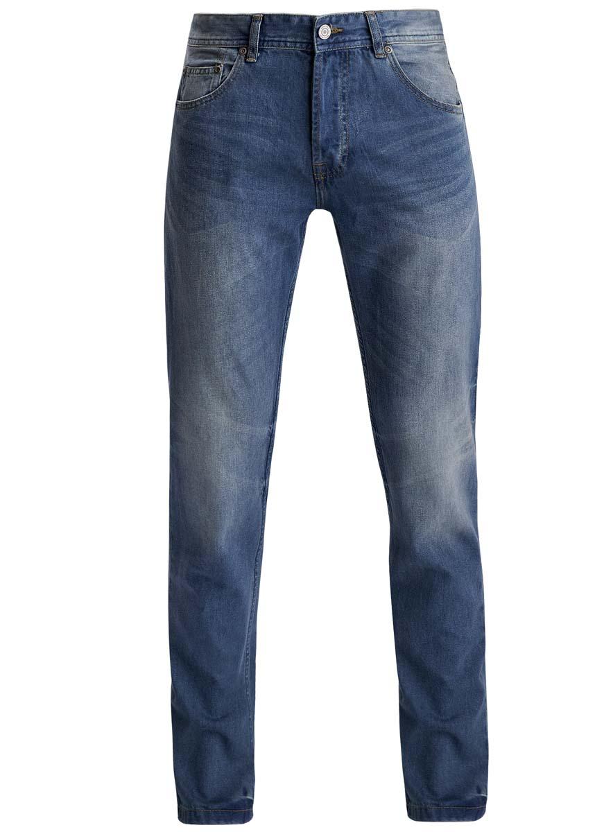 Джинсы мужские oodji Lab, цвет: синий джинс. 6L130046M/35771/7500W. Размер 33-34 (52-34)6L130046M/35771/7500WМодные мужские джинсы oodji выполнены из высококачественного 100% хлопка, что обеспечивает комфорт и удобство во время носки. Джинсы прямой модели имеют стандартную посадку. Модель застегивается на пуговицу в поясе и три скрытые пуговицы, дополнена шлевками для ремня. Джинсы имеют классический пятикарманный крой: спереди расположены два втачных кармана и один небольшой накладной карман, а сзади - два накладных кармана. Модель оформлена эффектом потертости.