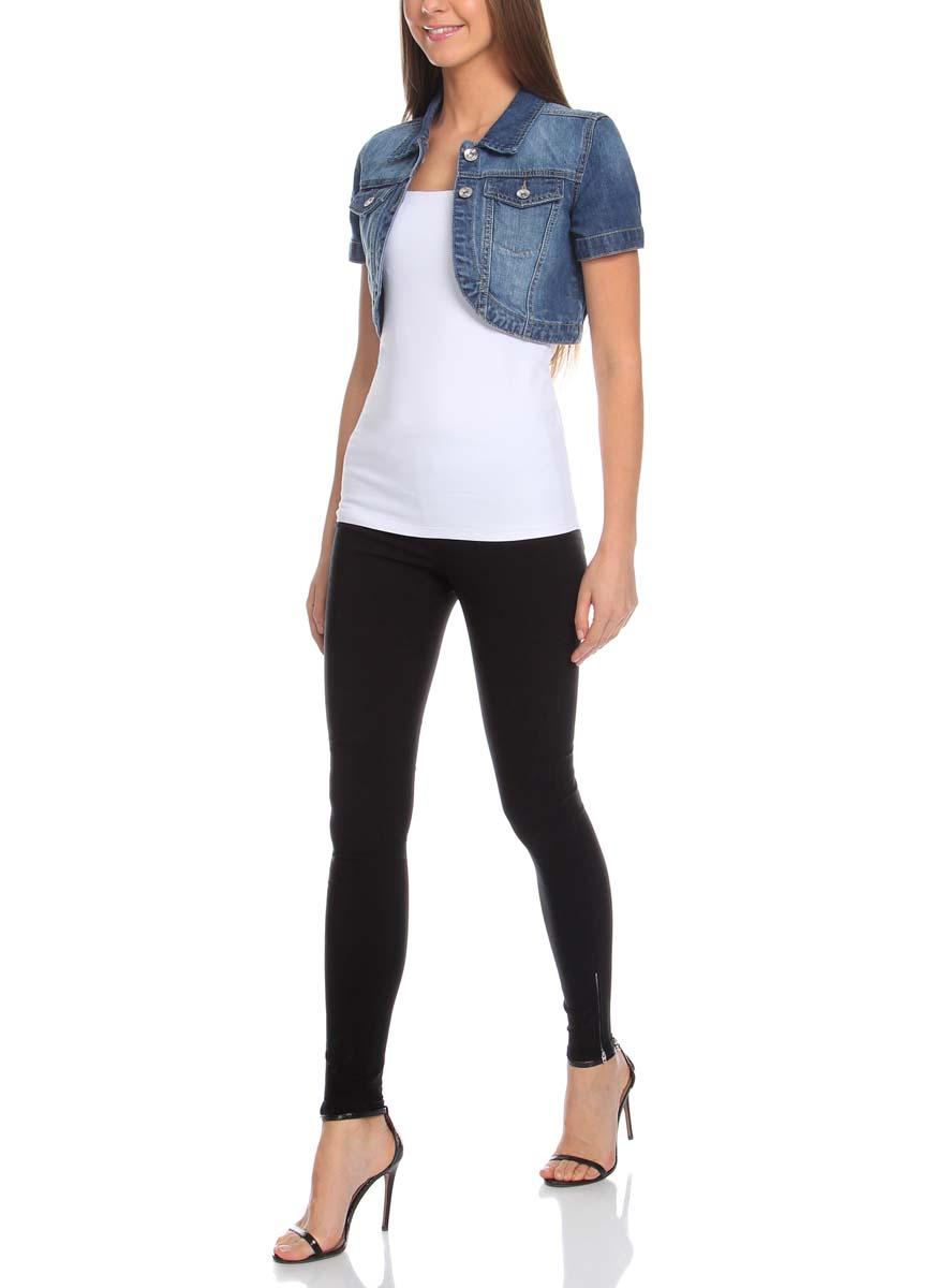 Жакет женский oodji Denim, цвет: синий джинс. 11109021-1/22301/7500W. Размер 36-170 (42-170)11109021-1/22301/7500WЖакет женский укороченный oodji Denim выполнен из натурального высококачественного хлопка. Имеет два кармана на груди, отложной воротничок, фигурный низ, застегивается спереди на пуговицы.