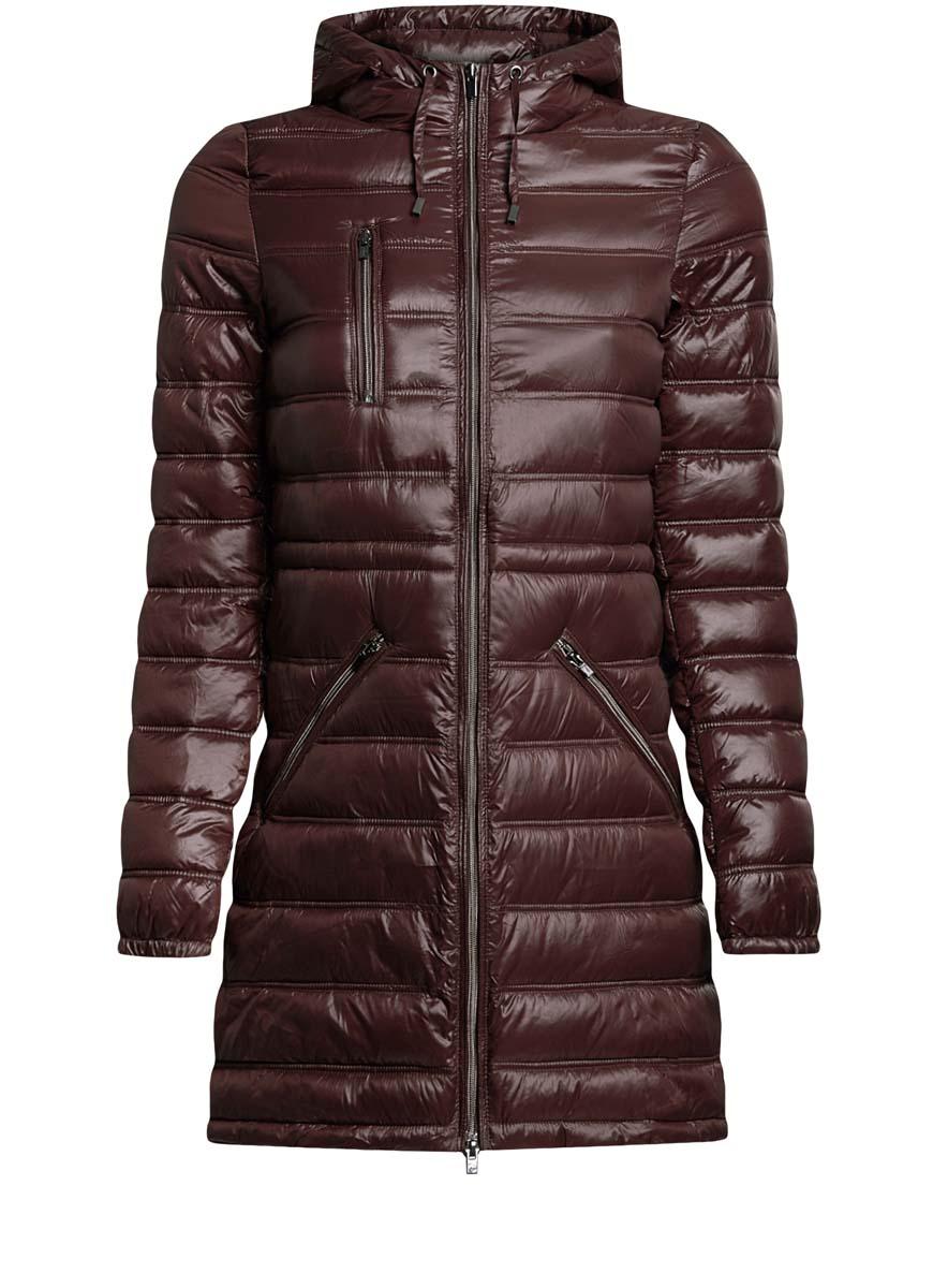 Куртка женская oodji Ultra, цвет: темно-коричневый. 10203056/33445/3900N. Размер 36-170 (42-170)10203056/33445/3900NЖенская куртка oodji Ultra выполнена из 100% полиамида. В качестве подкладки также используется полиамид, а утеплителем служит 100% полиэстер. Модель с несъемным капюшоном застегивается на застежку-молнию с внутренней ветрозащитной планкой. Край капюшона и низ изделия дополнены шнурком-кулиской. Низ рукавов присобран на резинку. Спереди расположено три прорезных кармана на застежках-молниях, один из которых расположен на груди.