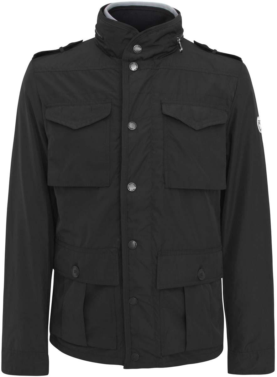 Куртка мужская oodji Basic, цвет: черный. 1B401001M/23466N/2900N. Размер M (50-182)1B401001M/23466N/2900NСтильная мужская куртка oodji Basic изготовлена из полиэстера. Модель застёгивается на молнию и кнопки. Спереди на куртке расположены четыре накладных кармана под клапанами, два н кнопках и два на молниях. С внутренней стороны - прорезной карман на застежке-молнии. Манжеты рукавов фиксируются пуговицами. Ширину низа куртки можно регулировать кнопками, расположенными сзади. Плечи дополнены декоративными хлястиками на пуговицах, воротник декорирован молнией.