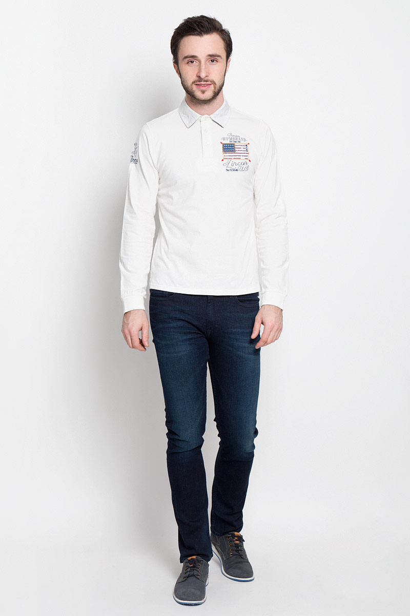 Поло мужское WPM, цвет: белый. 10459 7173 C010. Размер XXL (54)
