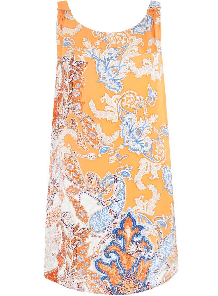 Платье oodji Collection, цвет: оранжевый, голубой. 21900314/42716/5570E. Размер 36-170 (42-170)21900314/42716/5570EПлатье oodji Collection выполнено полностью из полиэстера. Модель на бретелях свободного кроя и с круглым вырезом горловины. Платье оформлено этническим принтом.