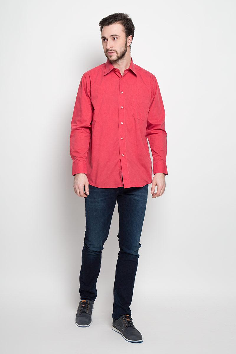 Рубашка мужская Imperator, цвет: красный. 5915-210. Размер 42-170/176 (52-170/176)5915-210Отличная мужская рубашка, выполненная из хлопка с добавлением полиэстера. Рубашка прямого кроя с длинными рукавами и отложным воротником застегивается на пуговицы. Модель дополнена одним нагрудным карманом.