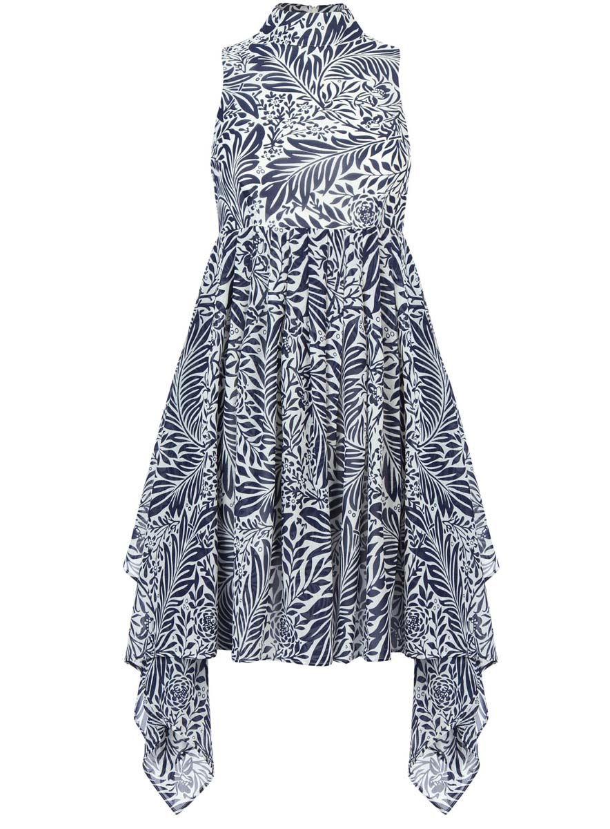 Платье oodji Ultra, цвет: белый, темно-синий. 11900222/35271/1079F. Размер 36-170 (42-170)11900222/35271/1079FСтильное платье oodji Ultra выполнено полностью из полиэстера. Модель с ассиметричным подолом, воротником-стойкой и без рукавов застегивается на спине на молнию.