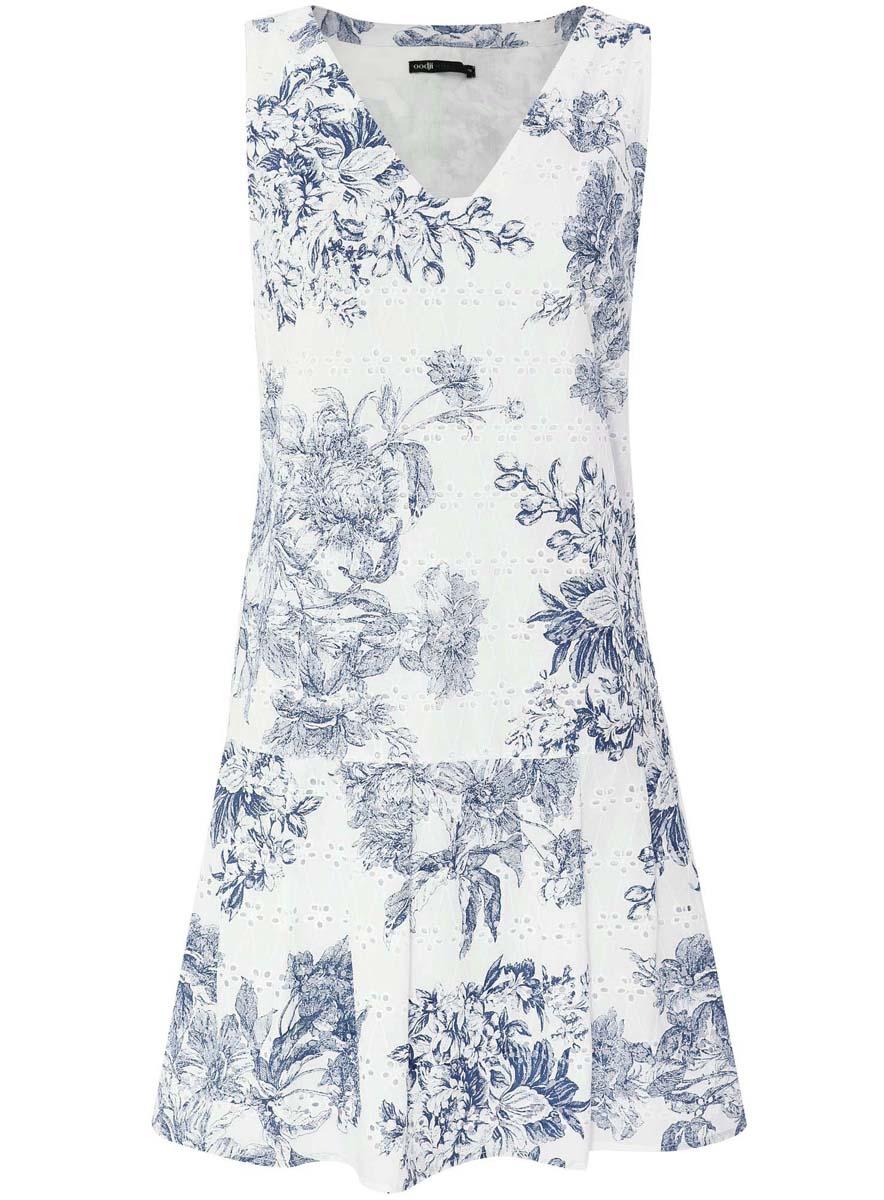 Платье oodji Ultra, цвет: белый, темно-синий. 11910086/42683/1079F. Размер 38-170 (44-170)11910086/42683/1079FМодное платье oodji Ultra станет отличным дополнением к вашему гардеробу. Модель выполнена из натурального хлопка. Платье-миди без рукавов и с V-образным вырезом горловины застегивается по боковому шву на застежку-молнию. Чуть ниже талии юбка дополнена стильными складками, которые добавляют изделию пышность. Платье оформлено цветочным принтом и небольшой перфорацией.