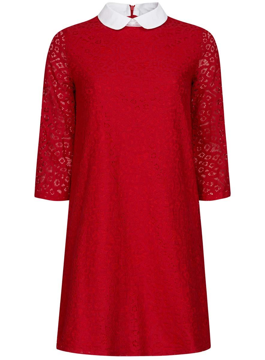 Платье oodji Ultra, цвет: красный. 11911008/45945/4500N. Размер 40-170 (46-170)11911008/45945/4500NСтильное платье oodji Ultra выполнена из хлопка с добавлением полиамида. Модель с отложным воротником и рукавами 3/4 застегивается сзади на застежку-молнию.
