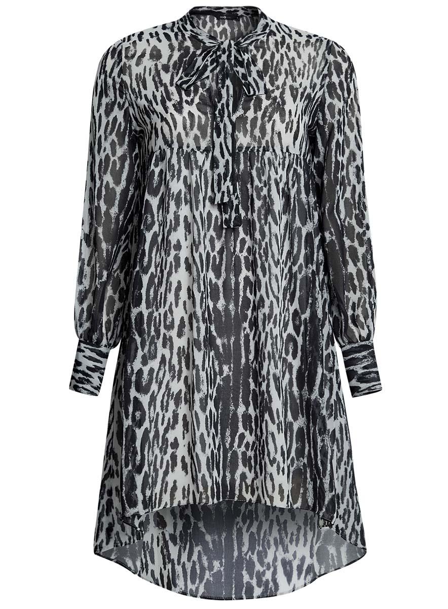 Платье oodji Ultra, цвет: светло-серый, черный. 11913032/38375/2029A. Размер 36-170 (42-170)11913032/38375/2029AПлатье oodji Ultra исполнено из воздушной, легкой ткани. Имеет свободный крой и V-образный вырез воротника, оформленный завязками под горлом. Платье выполнено с длинными рукавами-баллонами, застегивающимися на манжетах на пуговицы и ассиметричной юбкой, удлиненной сзади шлейфом.