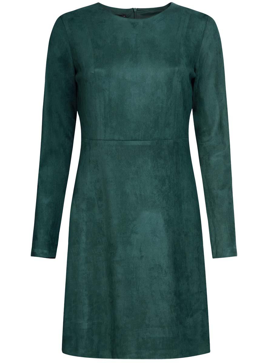 Платье oodji Ultra, цвет: темно-зеленый. 18L02001/45870/6900N. Размер 38-170 (44-170)18L02001/45870/6900NПлатье oodji Ultra изготовлено из полиэстера с добавлением эластана. На ощупь ткань напоминает искусственную замшу. Верх платья выполнен с длинными рукавами и круглым вырезом воротника. У модели имеется подкладка, низ платья свободного кроя. Модель застегивается на пластиковую застежку-молнию, расположенную на спинке от самого верха и до пояса.
