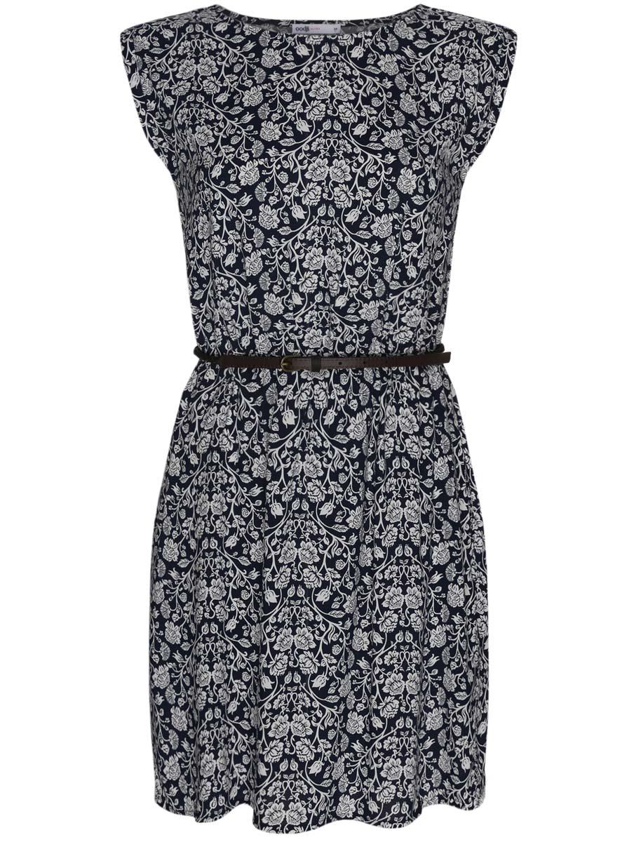 Платье oodji Ultra, цвет: темно-синий, белый. 11910073-2/45470/7912F. Размер 44-164 (50-164)11910073-2/45470/7912FПлатье oodji Ultra выполнено из легкой струящейся ткани и оформлено оригинальным принтом. Модель мини-длины с круглым вырезом горловины и короткими рукавами дополнена двумя прорезными карманами на юбке.В комплект с платьемвходит узкий ремень из искусственной кожи с металлической пряжкой.