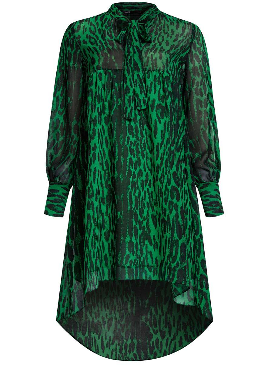 Платье oodji Ultra, цвет: травяной, черный. 11913032/38375/6B29A. Размер 34-170 (40-170)11913032/38375/6B29AПлатье oodji Ultra исполнено из воздушной, легкой ткани. Имеет свободный крой и V-образный вырез воротника, оформленный завязками под горлом. Платье выполнено с длинными рукавами-баллонами, застегивающимися на манжетах на пуговицы и ассиметричной юбкой, удлиненной сзади шлейфом.