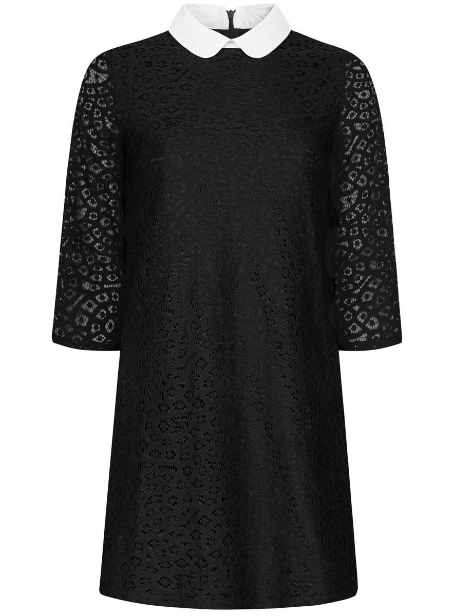 Платье oodji Ultra, цвет: черный. 11911008/45945/2900N. Размер 40-170 (46-170)11911008/45945/2900NСтильное платье oodji Ultra выполнена из хлопка с добавлением полиамида. Модель с отложным воротником и рукавами 3/4 застегивается сзади на застежку-молнию.