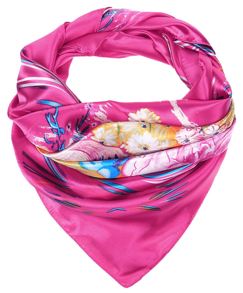 Платок женский Vittorio Richi, цвет: розовый. RoHS1602/3-4. Размер 100 см х 100 смRoHS1602/3-4Стильный женский платок Vittorio Richi изготовлен из высококачественного полиэстера с добавлением шелка. Платок оформлен красочным цветочным принтом. Край отделан швом американка.