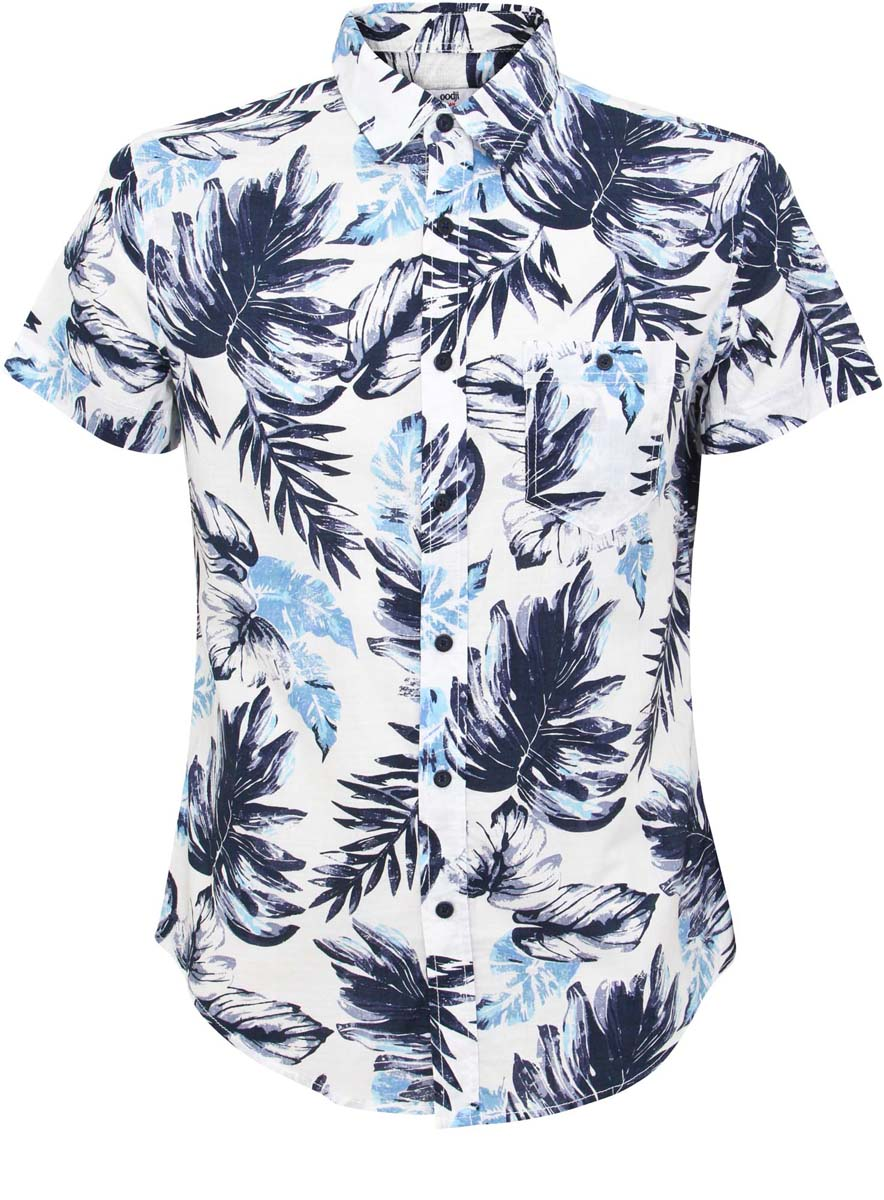 Рубашка мужская oodji Lab, цвет: белый, синий. 3L410063M/39541N/1075F. Размер M-182 (50-182)3L410063M/39541N/1075FМужская рубашка oodji Lab выполнена полностью из хлопка. Модель с отложным воротником, накладным карманом на пуговице на лицевой стороне и короткими рукавами застегивается по всей длине на пуговицы. Рубашка оформлена ярким принтом.