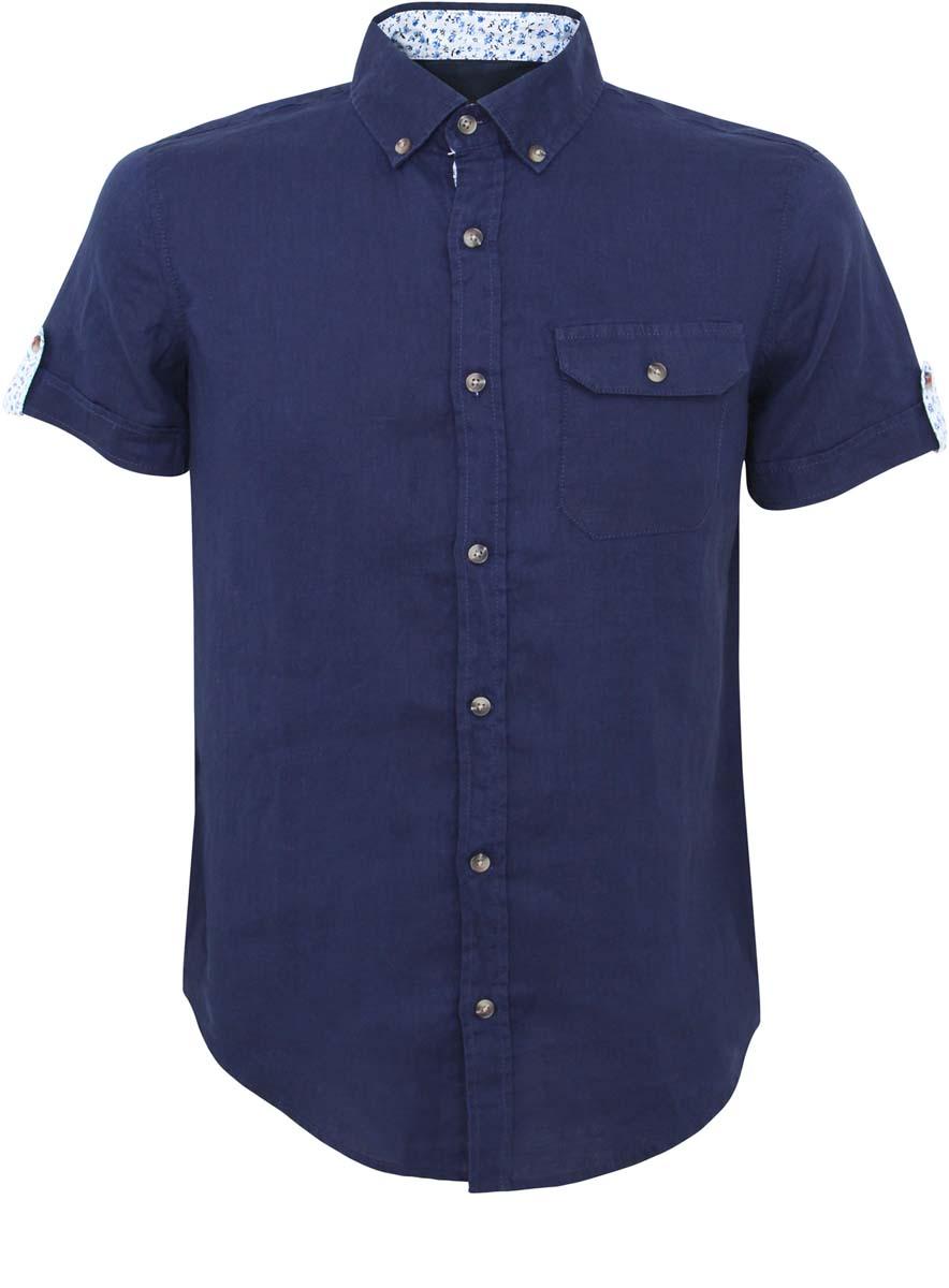 Рубашка мужская oodji Lab, цвет: темно-синий. 3L410053M/34257N/7875B. Размер XS-182 (44-182)3L410053M/34257N/7875BРубашка oodji Lab выполнена из натурального льна и оформлена в лаконичном дизайне. Модель с отложным воротником и коротким рукавом застегивается с помощью пуговиц. Дополнена рубашка спереди одним накладным карманом с клапаном на пуговице. Манжеты на рукавах оформлены оригинальными хлястиками на пуговицах с цветочным принтом.
