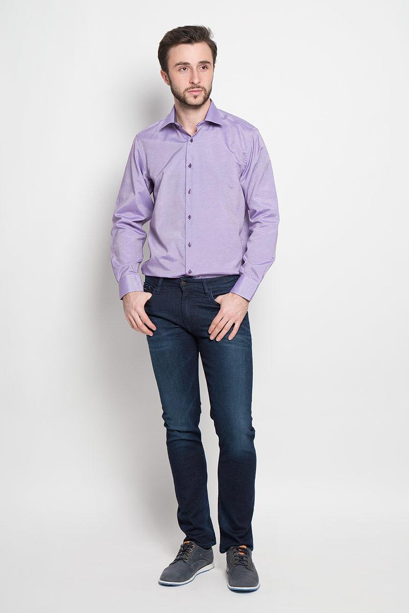 Рубашка мужская Imperator, цвет: сиреневый. Argento 16. Размер 39-178/186 (46-178/186)Argento 16Отличная мужская рубашка, выполненная из хлопка с добавлением полиэстера. Рубашка прямого кроя с длинными рукавами и отложным воротником застегивается на пуговицы.