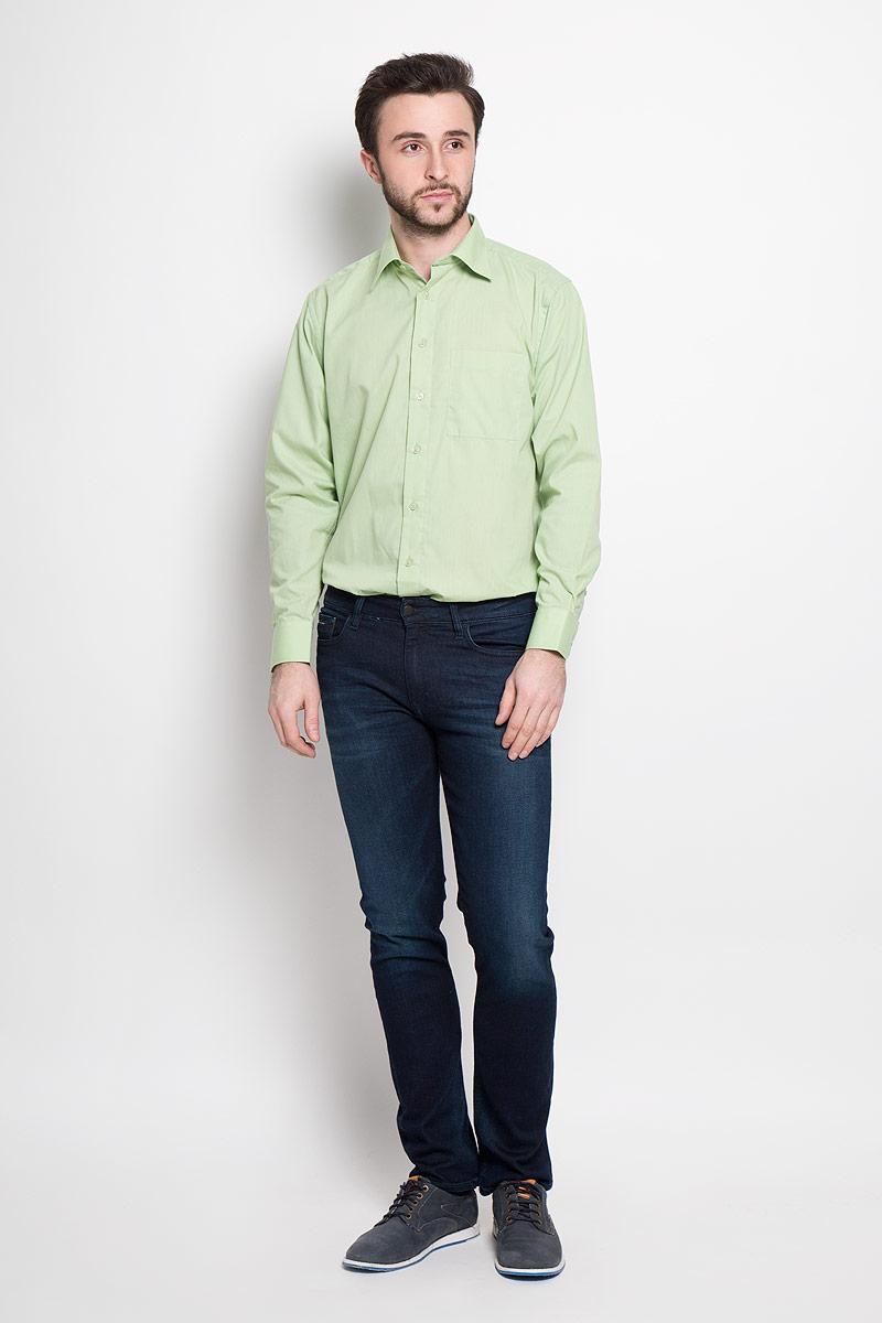 Рубашка мужская Imperator, цвет: светло-зеленый. Mineral Green. Размер 41-178/186 (50-178/186)Mineral GreenОтличная мужская рубашка, выполненная из хлопка с добавлением полиэстера. Рубашка прямого кроя с длинными рукавами и отложным воротником застегивается на пуговицы. Модель дополнена одним нагрудным карманом.