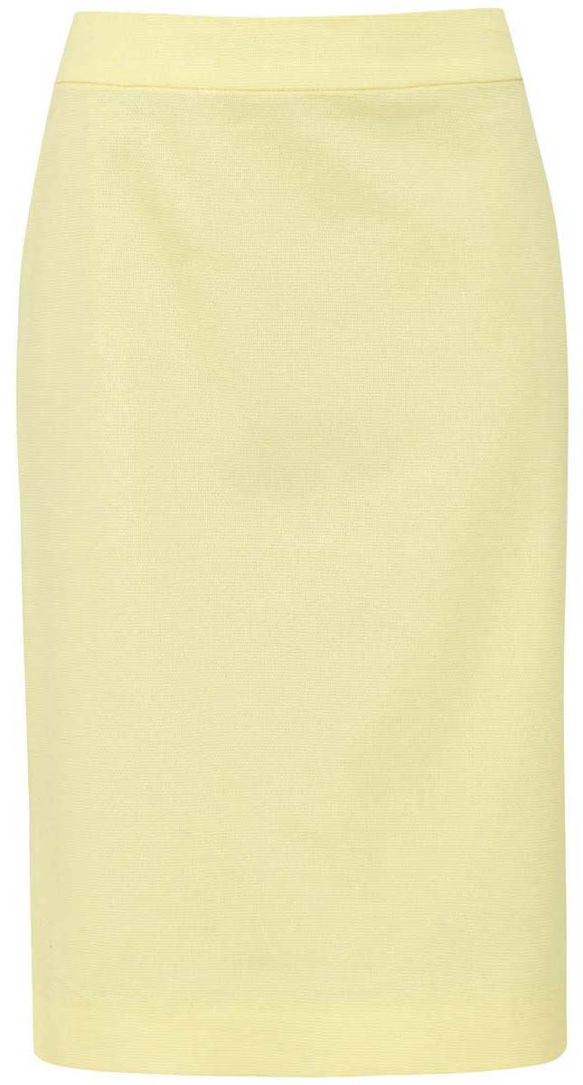 Юбка oodji Collection, цвет: светло-желтый. 21601254-2/42824/5000N. Размер 42-170 (48-170)21601254-2/42824/5000NЮбка oodji Collection выполнена из из хлопка с добавлением полиуретана. Юбка средней длины застегивается на застежку-молнию сзади. Сзади модель дополнена небольшим разрезом.