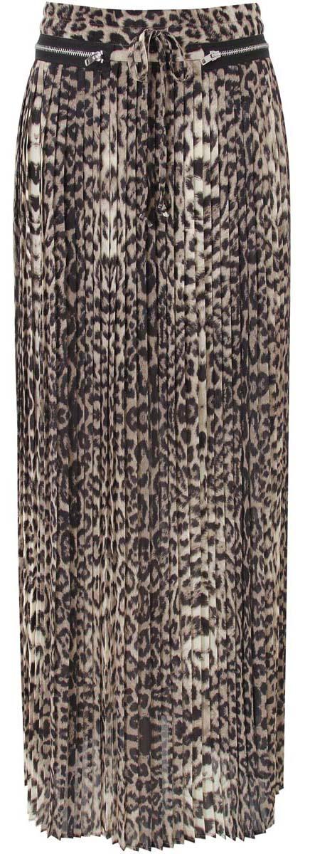 Юбка oodji Collection, цвет: бежевый, черный. 21606017/42929/3329A. Размер 38-170 (44-170)21606017/42929/3329AДлинная юбка-плиссе, декорированная металлическими молниями. выполнена из высококачественного материала. Сзади модель застегивается на потайную застежку-молнию.