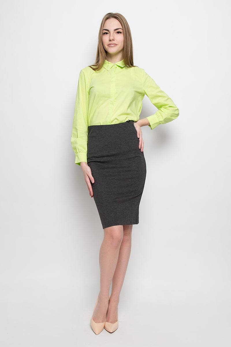 Юбка Ruxara, цвет: темно-серый меланж. 2400109. Размер 462400109Классическая юбка-карандаш Ruxara выполнена из плотного джерси. Модель дополнена широкой резинкой по талии. В среднем шве спинки по низу имеется разрез с застежкой на потайную молнию. Элегантная и стильная юбка - идеальное решение на каждый день.