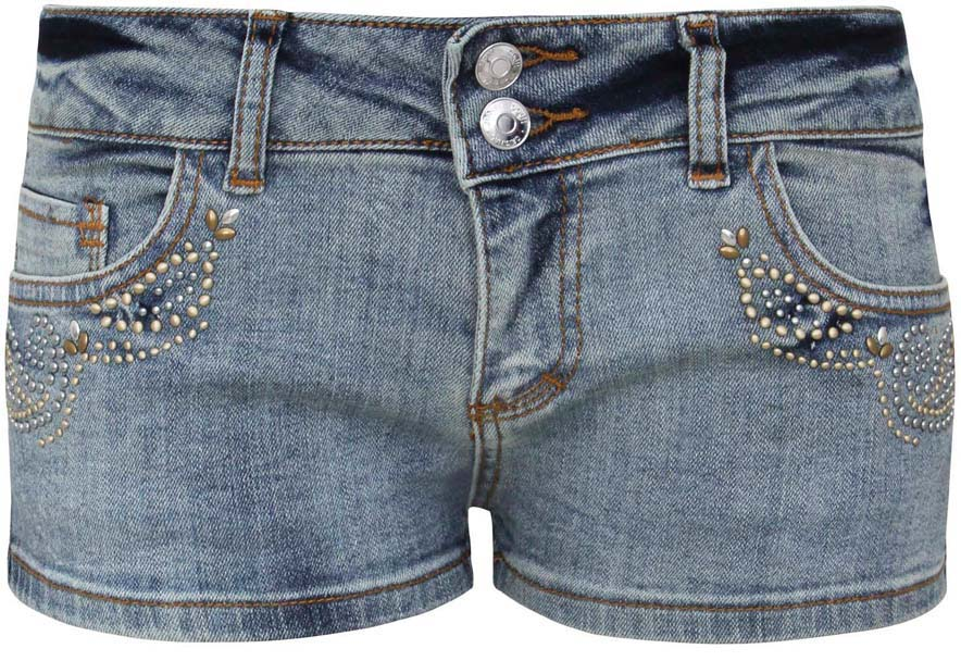 Шорты женские oodji Ultra, цвет: синий джинс. 12807049-1/33124/7500W. Размер 30 (50)12807049-1/33124/7500WСтильные женские шорты oodji Ultra изготовлены из эластичного хлопка. Шорты застегиваются на две пуговицы в поясе и ширинку на молнии. На поясе предусмотрены шлевки для ремня. Спереди расположены два втачных кармана и один накладной кармашек, сзади - два накладных кармана. Шорты оформлены декоративными клепками.