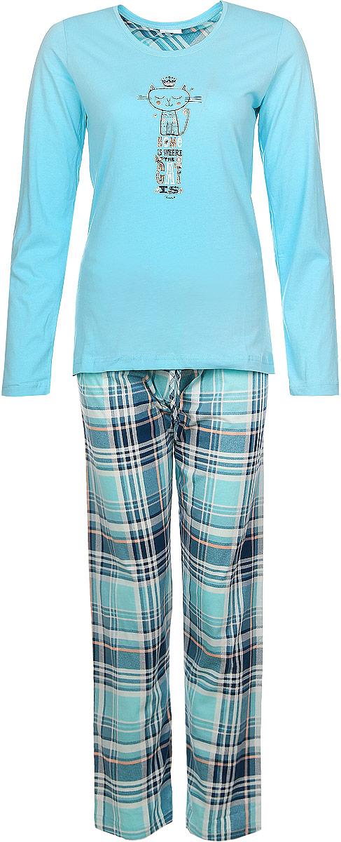 Костюм домашний женский Vienettas Secret Котик: лонгслив, брюки, цвет: светло-бирюзовый, морская волна. 604061 4493. Размер M (46)604061 4493Женский домашний костюм Vienettas Secret состоит из лонгслива и брюк.Лонгслив с круглым вырезом горловины и длинными рукавами, изготовленный из эластичного хлопка, оформлен спереди стильным принтом с изображением котика и надписями.Брюки из натурального хлопка с эластичным поясом на шнурке оформлены стильным принтом в клетку.