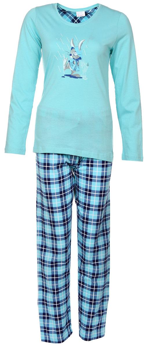 Комплект домашний женский Vienettas Secret Кролик: лонгслив, брюки, цвет: светло-бирюзовый, синий. 604090 2404. Размер L (48)604090 2404Женский домашний комплект Vienettas Secret Кролик включает в себя лонгслив и брюки. Комплект изготовлен из приятного на ощупь высококачественного натурального хлопка. Брюки дополнены широкой эластичной резинкой на поясе и оснащены затягивающимся шнурком-кулиской. Модель украшена принтом в клетку.Лонгслив с длинными рукавами и круглым вырезом горловины украшен принтом с изображением кролика в дождевике и надписью Nice To Sleep When Its Raining.