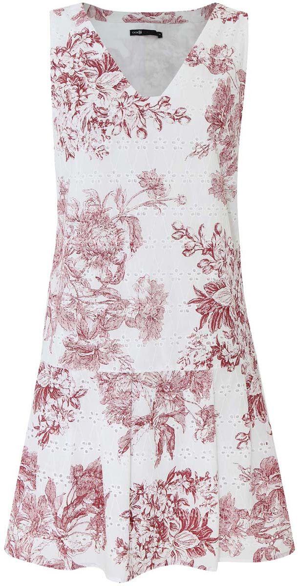 Платье oodji Ultra, цвет: белый, бордовый. 11910086/42683/1049F. Размер 38-170 (44-170)11910086/42683/1049FМодное платье oodji Ultra станет отличным дополнением к вашему гардеробу. Модель выполнена из натурального хлопка. Платье-миди без рукавов и с V-образным вырезом горловины застегивается по боковому шву на застежку-молнию. Чуть ниже талии юбка дополнена стильными складками, которые добавляют изделию пышность. Платье оформлено цветочным принтом и небольшой перфорацией.