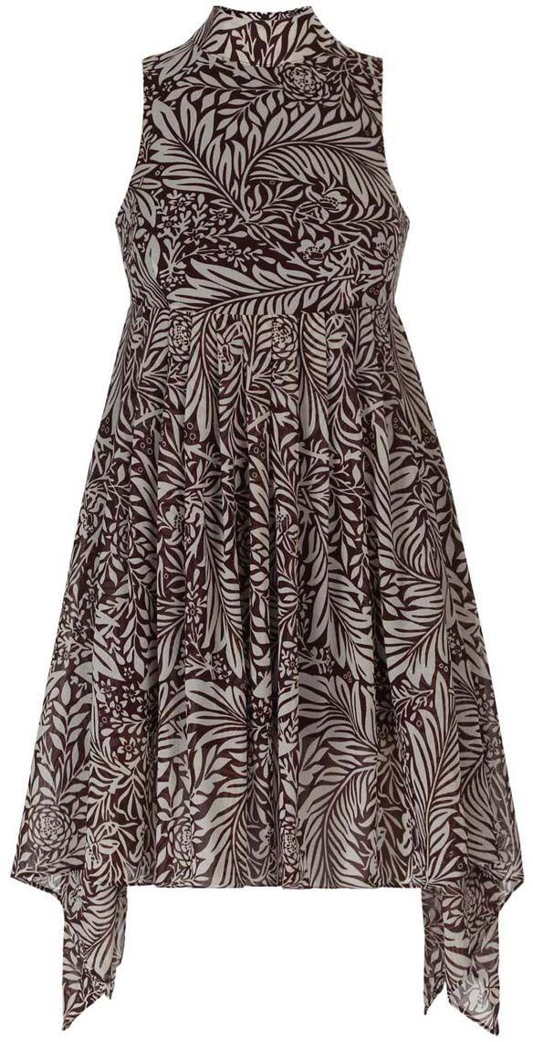 Платье oodji Ultra, цвет: темно-коричневый, белый. 11900222/35271/3912F. Размер 40-170 (46-170)11900222/35271/3912FСтильное платье oodji Ultra выполнено полностью из полиэстера. Модель с ассиметричным подолом, воротником-стойкой и без рукавов застегивается на спине на молнию.