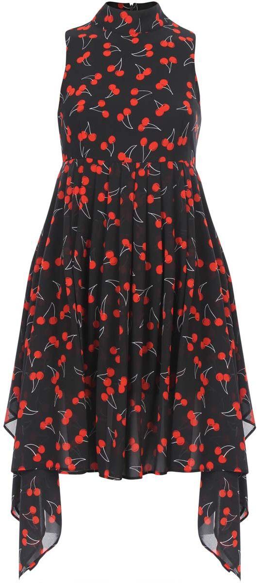 Платье oodji Ultra, цвет: черный, красный. 11900222/35271/2945O. Размер 34-164 (40-164)11900222/35271/2945OСтильное платье oodji Ultra выполнено полностью из полиэстера. Модель с ассиметричным подолом, воротником-стойкой и без рукавов застегивается на спине на молнию.