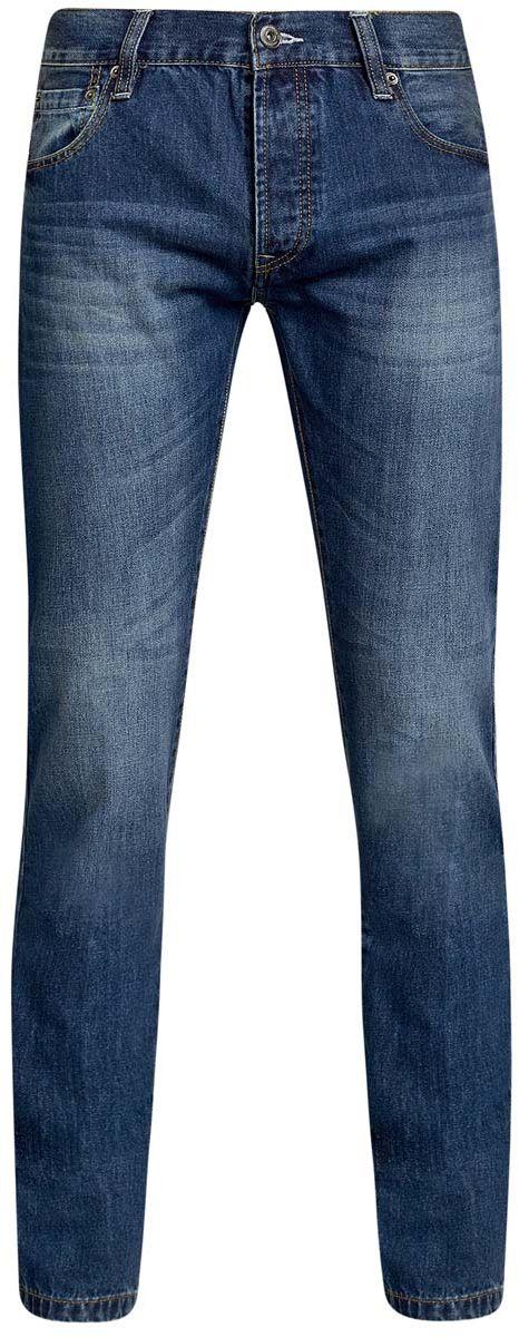 Джинсы мужские oodji Basic, цвет: синий. 6B130025M/35771/7500W. Размер 33-34 (52-34)6B130025M/35771/7500WМужские джинсы oodji Basic изготовлены из натурального хлопка. Джинсы-слим средней посадки застегиваются на металлические пуговицы. На поясе имеются шлевки для ремня. Спереди модель дополнена двумя втачными карманами и одним небольшим накладным кармашком, сзади - двумя накладными карманами. Модель оформлена эффектом потертости.
