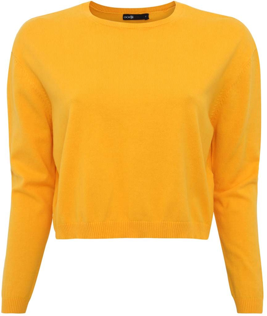 Джемпер женский oodji Ultra, цвет: желтый. 63812532/42856/5200N. Размер XXS (40)63812532/42856/5200NДжемпер женский oodji Ultra изготовлен из хлопка с добавлением полиамида. Укороченная модель оформлена длинными рукавами и круглым вырезом. Горловина, низ джемпера и рукавов выполнены резинкой.
