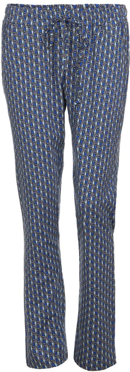 Брюки для дома женские Violett Капли, цвет: серый, синий. 17150515. Размер XL (50)17150515Женские домашние брюки Violett Капли прямого кроя и стандартной посадки изготовлены из натурального хлопка. Брюки имеют широкую эластичную резинку на поясе, а также дополнены внутренним затягивающимся шнурком-кулиской. Спереди расположены два втачных кармана. Модель оформлена контрастным принтом с изображением капель.