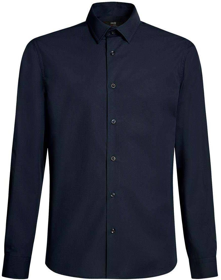 Рубашка мужская oodji Basic, цвет: темно-синий. 3B110005M/23286N/7900N. Размер 38-182 (44-182)3B110005M/23286N/7900NБазовая мужская рубашка полуприлегающего силуэта (slim fit) oodji Basic изготовлена из натурального хлопка, она мягкая и приятная на ощупь, не сковывает движения и позволяет коже дышать, обеспечивая наибольший комфорт. Рубашка с отложным воротником и длинными рукавами застегивается на пуговицы. Манжеты рукавов также застегиваются на пуговицы.
