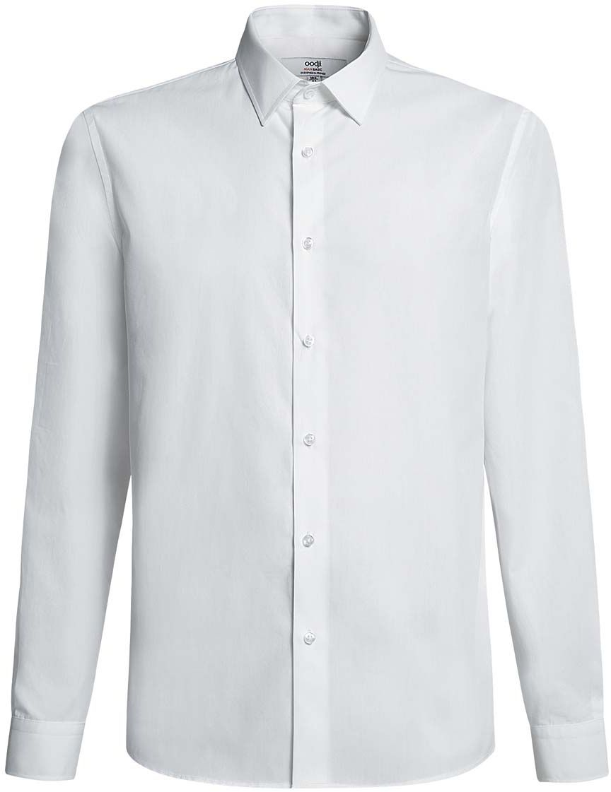 Рубашка мужская oodji Basic, цвет: белый. 3B110005M/23286N/1000N. Размер 41-182 (50-182)3B110005M/23286N/1000NБазовая мужская рубашка полуприлегающего силуэта (slim fit) oodji Basic изготовлена из натурального хлопка, она мягкая и приятная на ощупь, не сковывает движения и позволяет коже дышать, обеспечивая наибольший комфорт. Рубашка с отложным воротником и длинными рукавами застегивается на пуговицы. Манжеты рукавов также застегиваются на пуговицы.