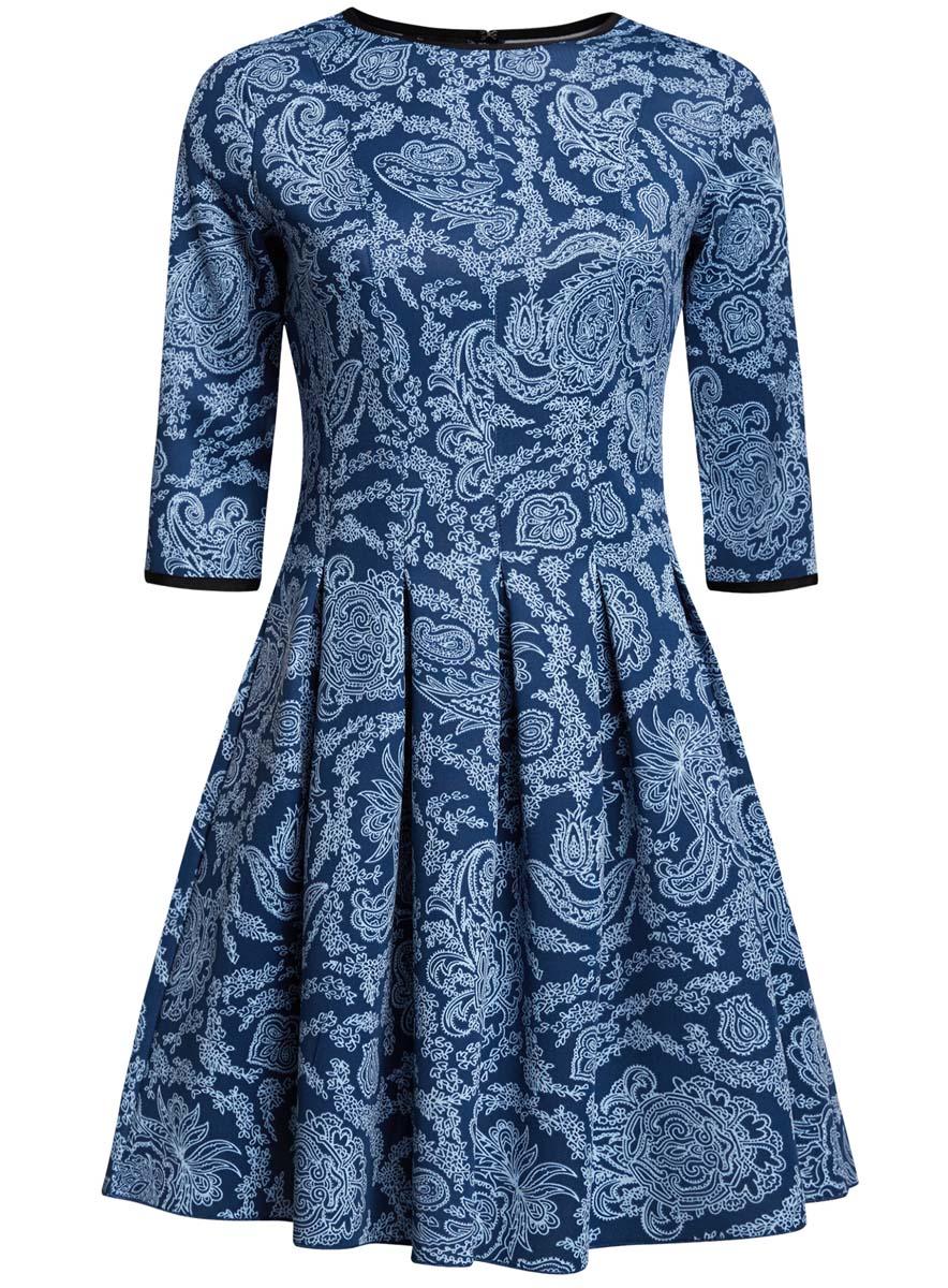 Платье oodji Ultra, цвет: темно-синий, голубой. 14001148-1/33735/7970E. Размер L (48)14001148-1/33735/7970EПлатье oodji Ultra изготовлено из эластичной плотной облегающей ткани. Модель имеет юбку с клиньями, рукава 3/4, круглый вырез воротника и застегивается на крючок сзади.