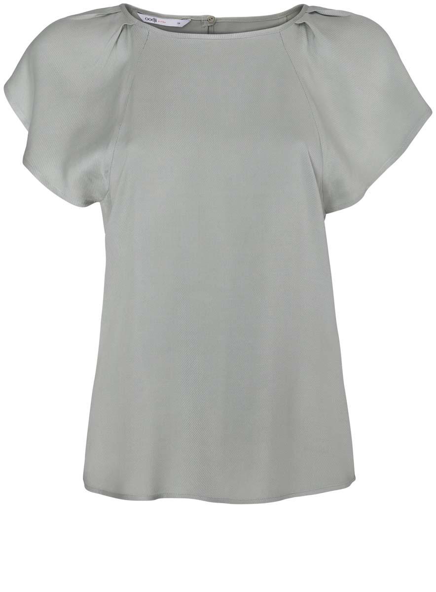 Блузка женская oodji Ultra, цвет: светло-зеленый. 11411106/45542/6000N. Размер 38-170 (44-170)11411106/45542/6000NЖенская блузка oodji Ultra выполнена из вискозы. Модель с круглым вырезом горловины и рукавами-крылышками, на спинке застегивается на пуговицу.