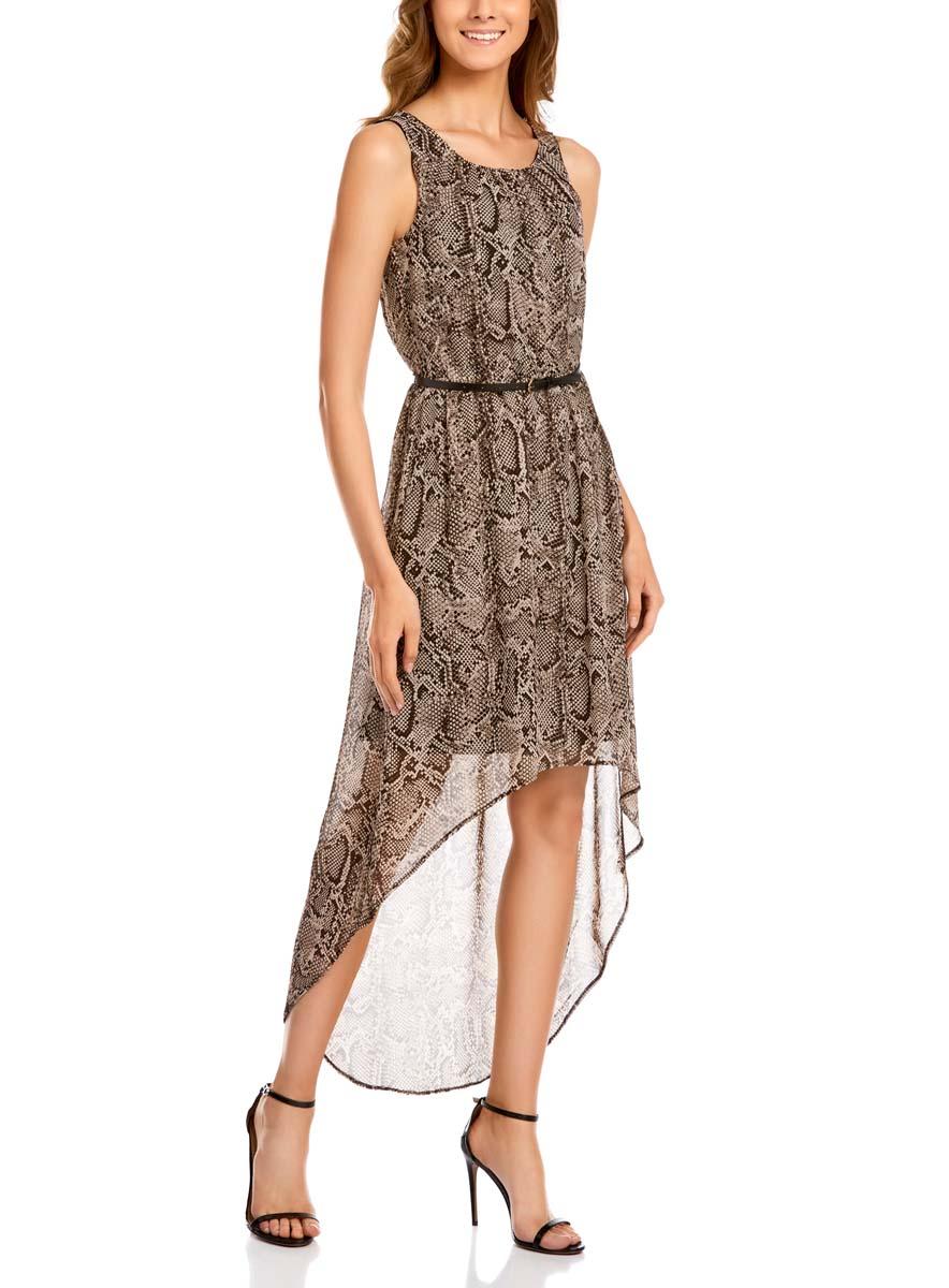 Платье oodji Collection, цвет: светло-серый, коричневый. 21901109-3/17288/2520A. Размер 44-170 (50-170)21901109-3/17288/2520AСтильное платье oodji Collection изготовлено качественного полиэстера. Модель свободного кроя с круглой горловиной и без рукавов. Платье дополнено подкладкой, на талии собрано на внутреннюю резинку. Подол платья имеет асимметричную форму.
