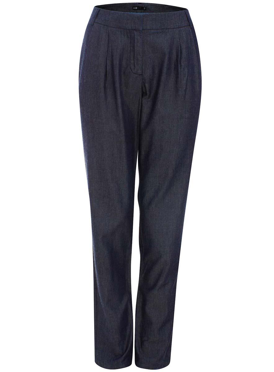 цены  Брюки женские oodji Collection, цвет: темно-синий. 21705066/35463/7000W. Размер 40-170 (46-170)