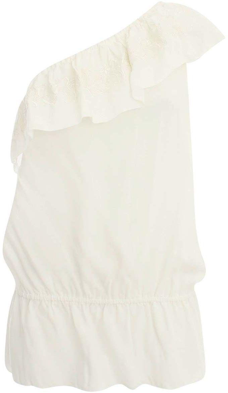 Блузка женская oodji Ultra, цвет: молочный. 11400386/26346/1200N. Размер 42-170 (48-170)11400386/26346/1200NЖенская блузка oodji Ultra выполнена полностью из вискозы. Ассиметричная модель на одно плечо с оборкой и эластичной резинкой на талии. Блузка оформлена контрастной цветочной вышивкой.