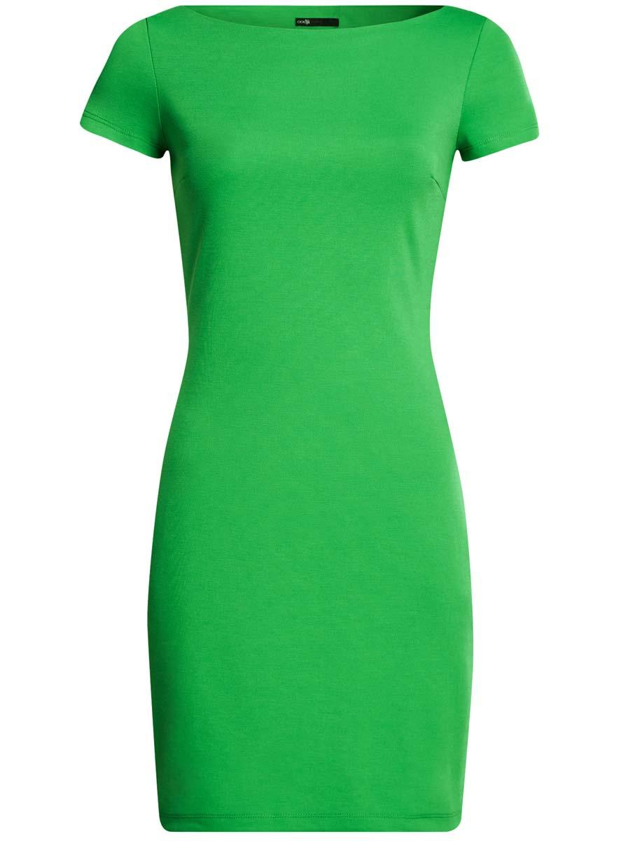 Платье oodji Ultra, цвет: зеленый. 14001117-2B/16564/6A00N. Размер XS (42)14001117-2B/16564/6A00NТрикотажное платье oodji Ultra выполнено из качественного комбинированного материала. Модель по фигуре с вырезом-лодочкой и короткими рукавами.