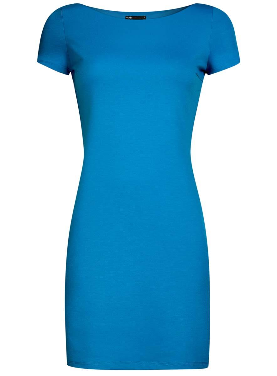 Платье oodji Ultra, цвет: голубой. 14001117-2B/16564/7501N. Размер XXS (40)14001117-2B/16564/7501NТрикотажное платье oodji Ultra выполнено из качественного комбинированного материала. Модель по фигуре с вырезом-лодочкой и короткими рукавами.