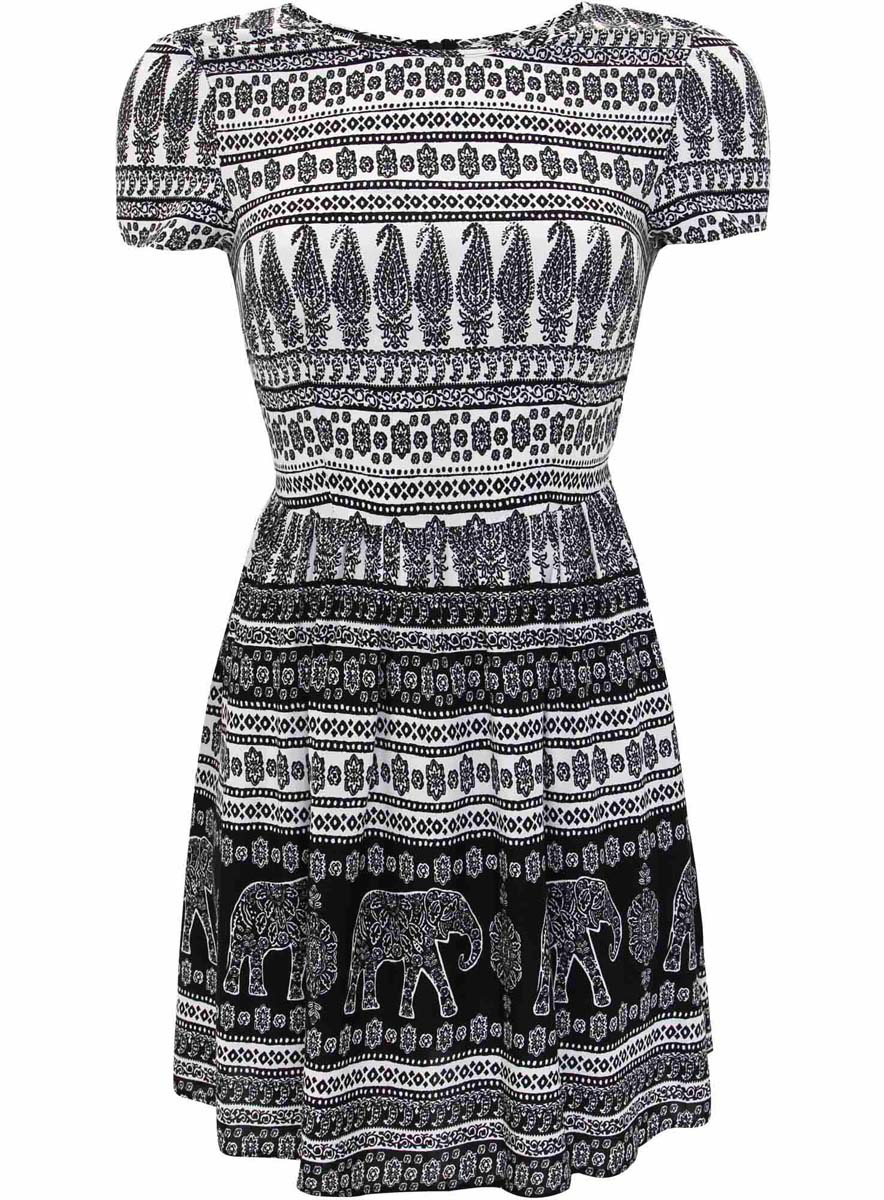 Платье oodji Ultra, цвет: белый, черный. 11900191-3/26346/1229E. Размер 36-164 (42-164)11900191-3/26346/1229EСтильное платье oodji Ultra выполнено из качественной вискозы. Модель-миди с круглым вырезом горловины и короткими рукавами застегивается сзади по спинке на потайную молнию. Оформлено платье оригинальным принтом. В поясе изделие дополнено тоненьким пояском.