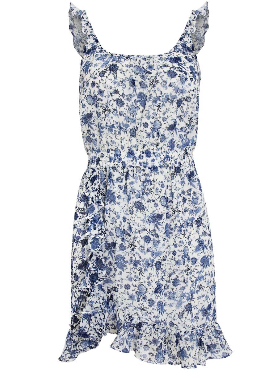 Платье oodji Ultra, цвет: белый, синий. 11900189/35202/1275F. Размер 34-170 (40-170)11900189/35202/1275FПлатье oodji Ultra выполнено из струящейся принтованной ткани и декорировано оборками. Модель длины мини. Талия оформлена эластичной резинкой.