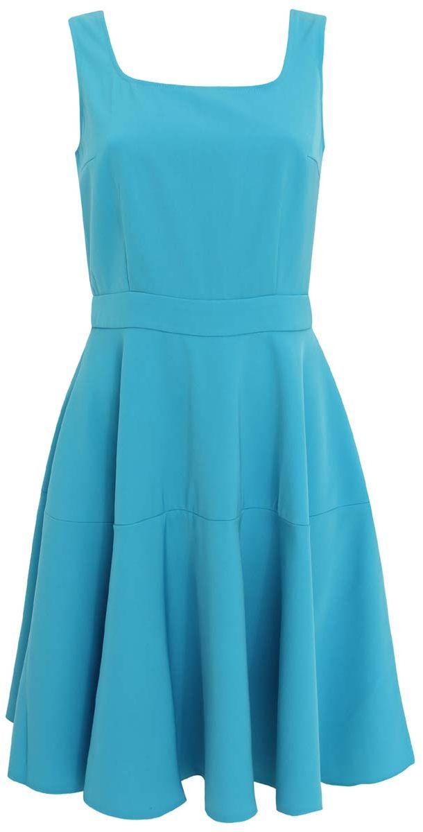Платье oodji Ultra, цвет: бирюзовый. 11902132M/35991/7300N. Размер 34-170 (40-170)11902132M/35991/7300NСтильное платье oodji Ultra выполнено из качественного плотного полиэстера. Платье с квадратным декольте застегивается сзади на молнию. Модель без рукавов, юбка расклешена.