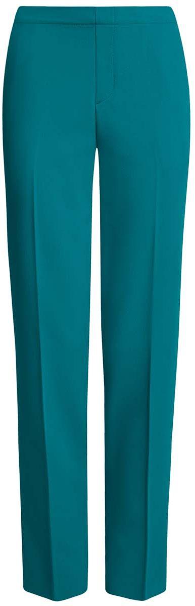 Брюки женские oodji Ultra, цвет: бирюзовый. 11706203/38253/7300N. Размер 40-170 (46-170)11706203/38253/7300NЖенские брюки oodji Ultra стандартной посадки изготовлены из полиэстера с добавлением вискозы и полиуретана. На поясе брюки дополнены широкой эластичной резинкой, спереди оформлены имитацией ширинки. По бокам расположены втачные карманы, сзади имитация двух прорезных кармашков.