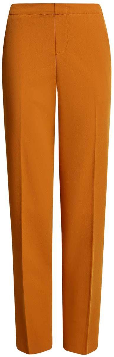 Брюки женские oodji Ultra, цвет: темно-оранжевый. 11706203/38253/5900N. Размер 38-170 (44-170)11706203/38253/5900NЖенские брюки oodji Ultra стандартной посадки изготовлены из полиэстера с добавлением вискозы и полиуретана. На поясе брюки дополнены широкой эластичной резинкой, спереди оформлены имитацией ширинки. По бокам расположены втачные карманы, сзади имитация двух прорезных кармашков.
