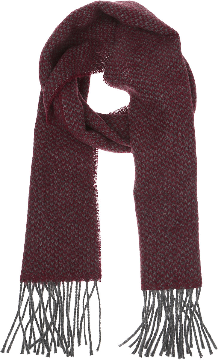 Шарф мужской Venera, цвет: бордовый, серый. 5000156-5. Размер 30 см х 160 см5000156-5Стильный теплый мужской шарф Venera изготовлен из очень мягкого и тактильно приятного материала. По краям изделие декорировано кисточками.