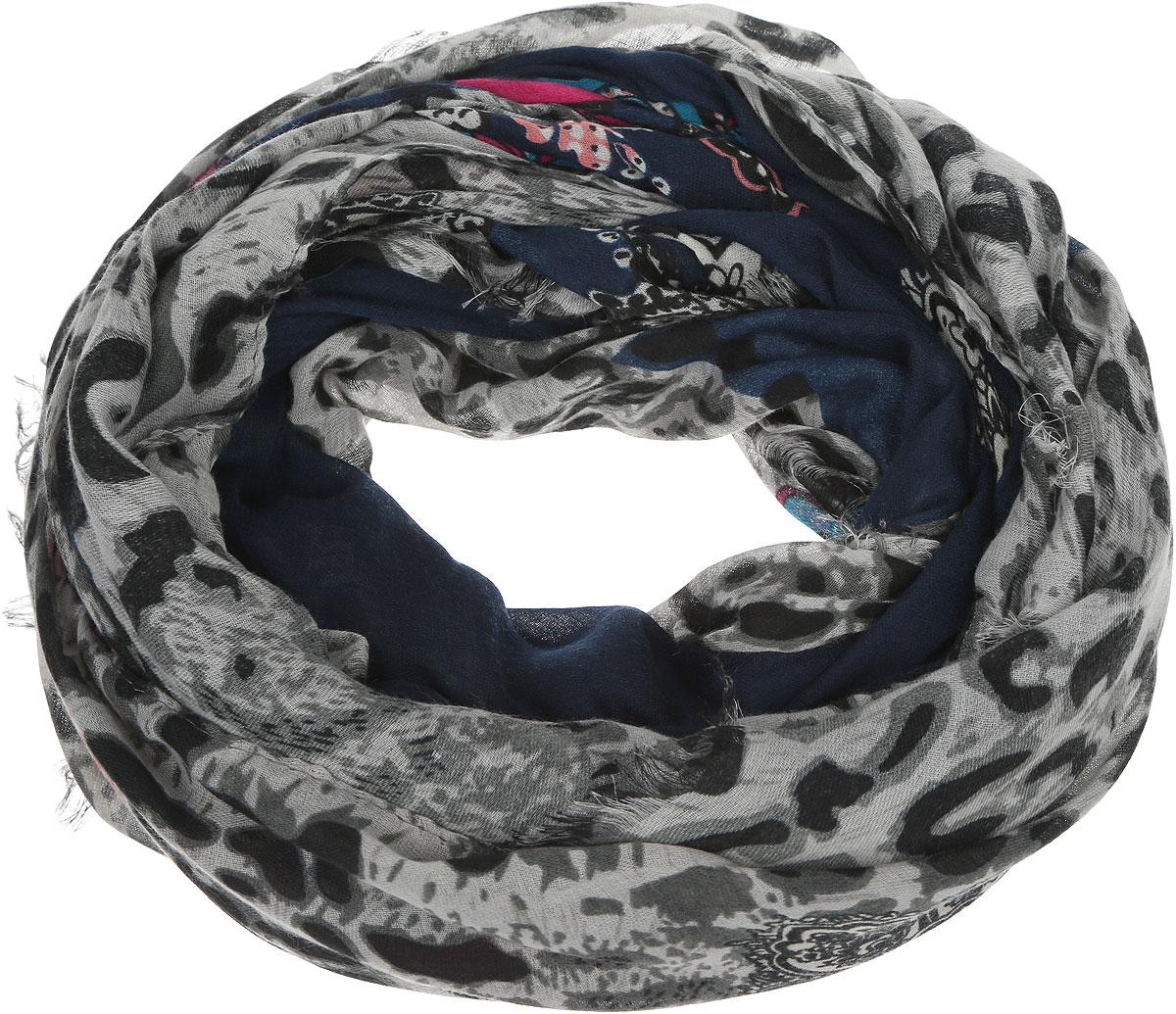 Палантин Venera, цвет: темно-синий, розовый, бирюзовый. 2717401-2. Размер 90 см х 180 см2717401-2Эффектный яркий палантин Venera выполнен из шерсти с добавлением вискозы. Модель оформлена узорами и анималистическим принтом. По краям изделие декорировано бахромой.