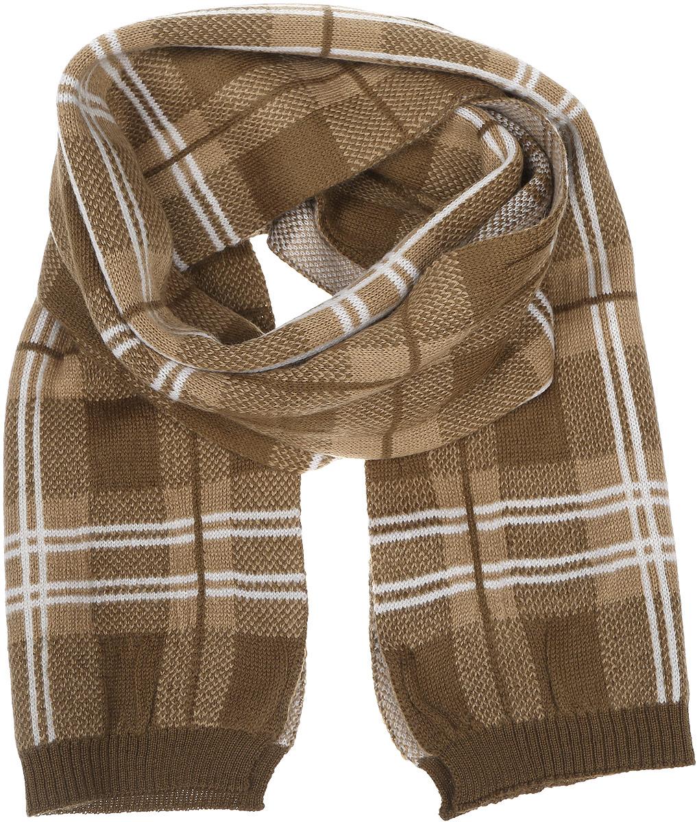 Шарф мужской Venera, цвет: бежевый, коричневый, белый. 6400137-120. Размер 24 см х 172 см6400137-120Стильный мужской шарф Venera полностью выполнен из натуральной шерсти. Модель оформлена принтом в клетку и дополнена резинками на краях.